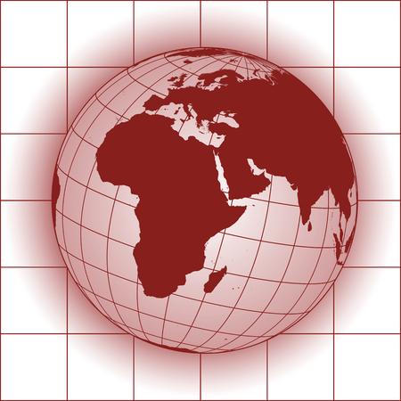 europe map: Europe and Africa map. Europe, Africa, Russia, Asia, North pole, Greenland. Earth globe.