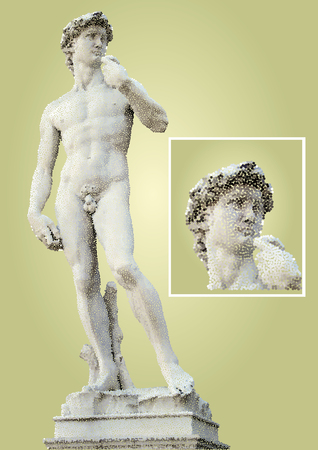 michelangelo: David of Michelangelo. Pontillist style illustration made with colored dots