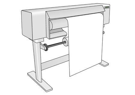 Trazador. Profesional de la impresora de inyección de tinta de gran CMYK y RGB usado en las artes gráficas, diseño gráfico y CAD