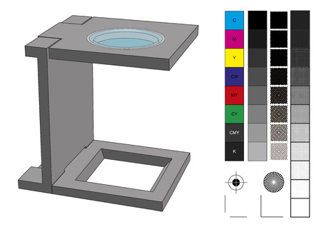 prepress: Loupe used in prepress for print production. CMYK color management elements as swatches, screen, separations, patterns and registration marks