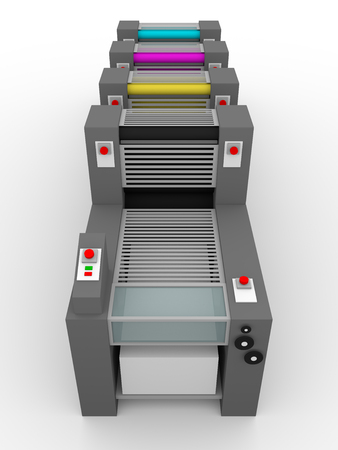 Printing press with cmyk rollers for industrial publishing Stock Photo