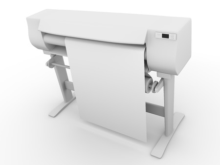 formats: Plotter side view. CMYK and RGB professional large inkjet printer used in graphic arts, graphic design and cad