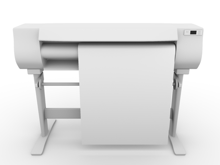 plotter: Plotter. CMYK and RGB professional large inkjet printer used in graphic arts, graphic design and cad Stock Photo