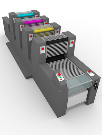 offset printer: Side view of an industrial printer. Printing press. Offset CMYK color system Stock Photo