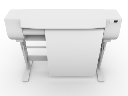 large size: Large size inkjet printer. Plotter as seen from above. Industrial printer for graphic design