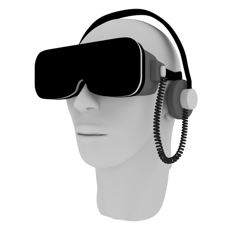 sound system: Human head wearing virtual reality glasses an sound system
