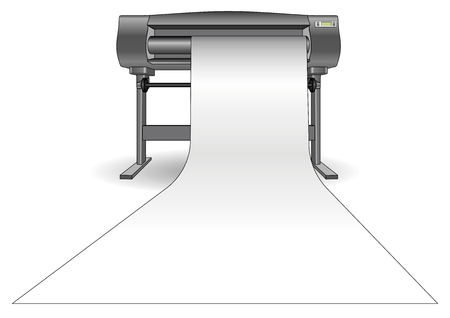 formats: Plotter used in computer aided design (cad) and graphic arts. Inkjet printer with a large format. ploter Illustration