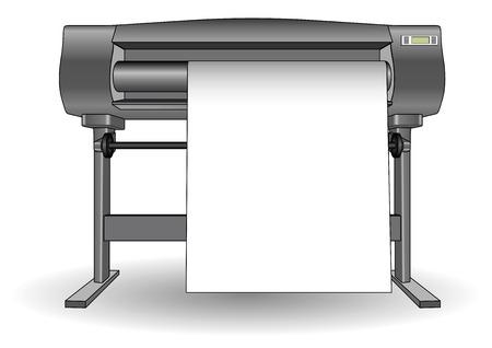 Plotter utilizado en el diseño asistido por ordenador (CAD) y artes gráficas. impresora de inyección con un formato grande. Ploter
