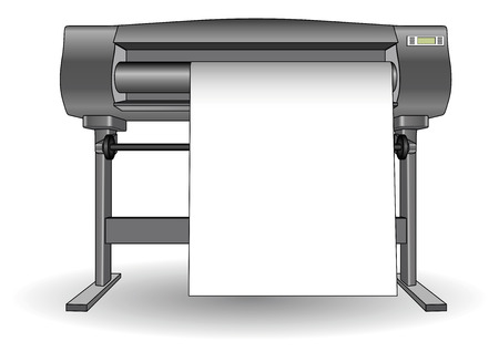 Plotter used in computer aided design (cad) and graphic arts. Inkjet printer with a large format. Ploter