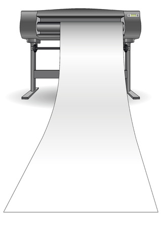 Großformat-Plotter ein großes Stück Papier drucken Vektorgrafik