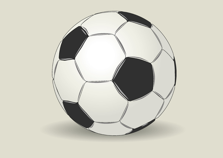 kickoff: Typical soccer ball in black and white made with leather