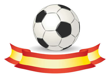 footy: Soccer ball in black and white with a spain banner or flag