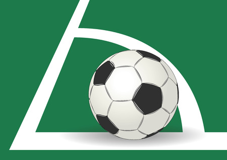 corner kick: Soccer ball in the corner of the soccer playground. Football Illustration