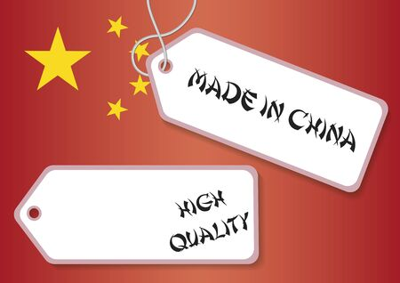 made in china: Made in china and high quality labels over the china flag Illustration