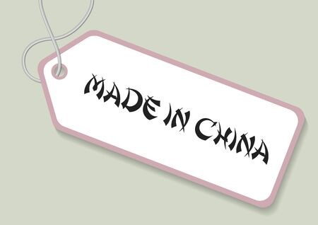 Made in china label over a green background