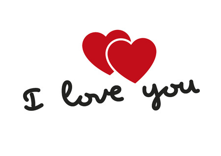 i love you symbol: I love you words with two hearts in red. Valentines day, love concept. Love symbol Illustration