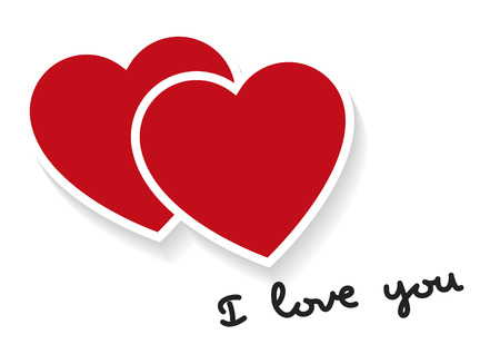 I Love You Words With Two Hearts In Red Valentines Day Love