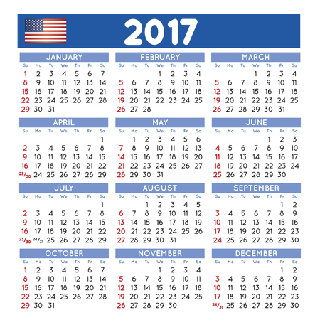 2017 elegant squared calendar. Year 2017 calendar. Calendar 2017. File easy to edit and apply.