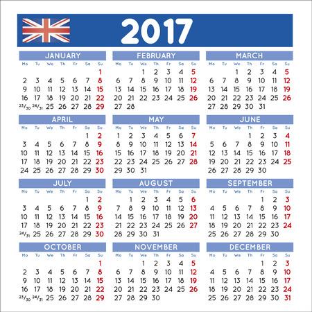 calendario noviembre: 2017 cuadrado elegante calendario Inglés Reino Unido. Año 2017 del calendario. Calendario 2017. Archivo fácil de editar y aplicar. Vectores