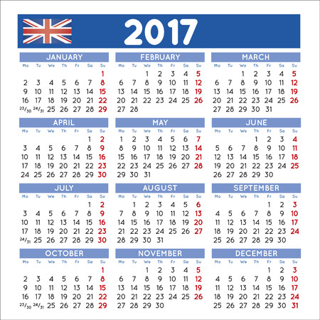 calendar september: 2017 elegant squared calendar english UK. Year 2017 calendar. Calendar 2017. File easy to edit and apply. Illustration