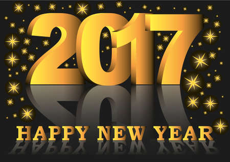 new years background: Happy new year 2017 greeting card with golden numbers and letters