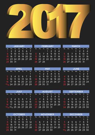 calendrier: 2017 calendrier noir en anglais. Année 2017 calendrier. Calendrier 2017. La semaine commence le dimanche