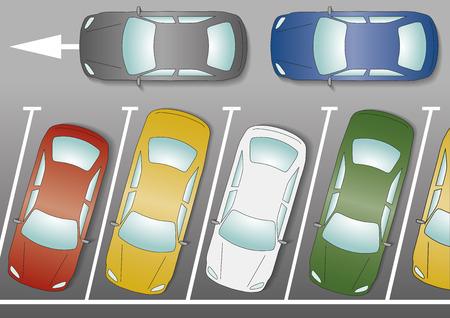 Een grijze en een blauwe auto op zoek een lege parkeerplaats in een volledige parkeerplaats