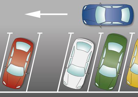 Het zoeken van een lege parkeerplaats. Blauwe auto gaat over om te parkeren in een lege parkeerplaats