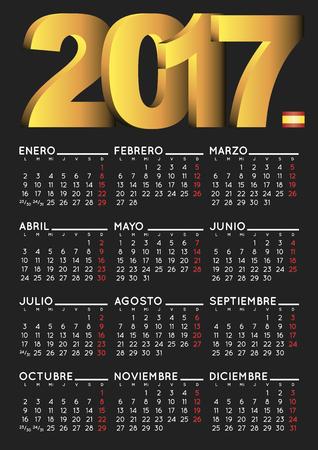 2017 black calendar in spanish. Year 2017 calendar. Calendar 2017. calendario 2017. Illustration