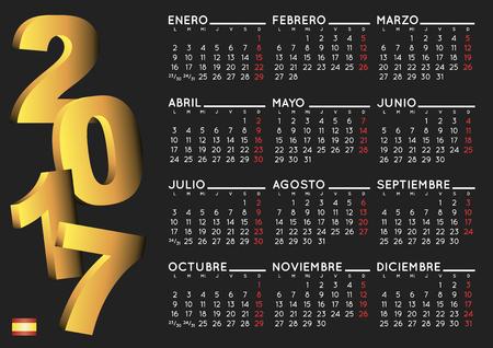 calendrier: 2017 élégant calendrier noir en espagnol. Année 2017 calendrier. Calendrier 2017. calendario 2017.
