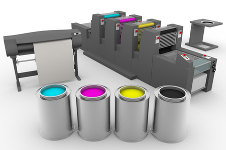 out of production: Common graphic arts elements we can found in a print production process