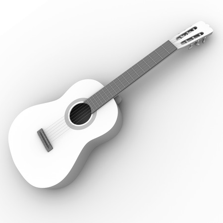 spanish guitar: 3d illustration of an spanish guitar in black and white