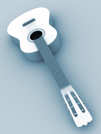spanish guitar: Spanish guitar in blue from a perspective view. 3d illustration Stock Photo