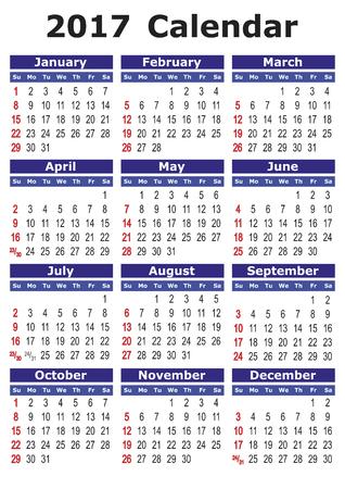 2017 calendar. Simple vector calendar for year 2017.