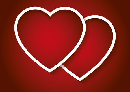 february 14th: Two valentines hearts in red. Valentines day, love concept. Love symbols