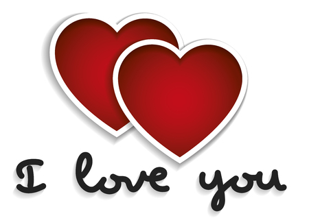 I love you words with two hearts in red. Valentines day, love concept. Love symbol Ilustração