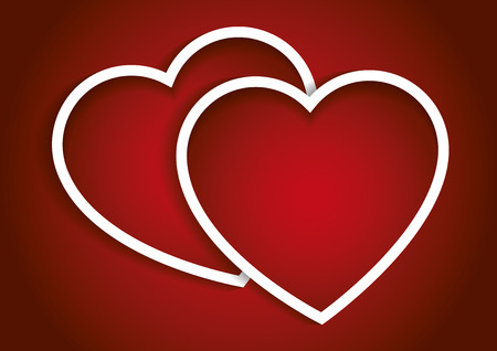 14th: Two valentines hearts in red. Valentines day, love concept. romantic symbol