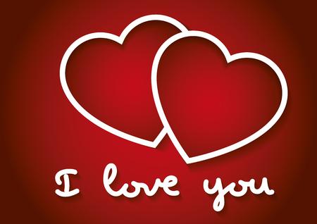 Ich liebe dich Worte mit zwei Herzen in rot. Valentinstag, Liebe Konzept. Liebessymbol