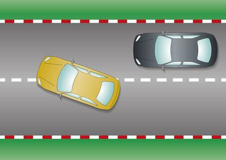 overtaking: Yellow car overtaking black car. From above, close-up. Vector