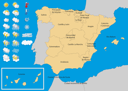 weather map: Map of spain with weather icons. Weather kit to publish meteorological predictions and forecast. Elements of this image furnished by NASA Illustration