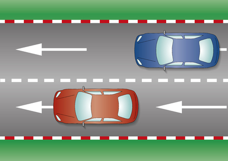 fluid: Two cars on the road. Fluid traffic concept. From above, close-up. Vector Illustration
