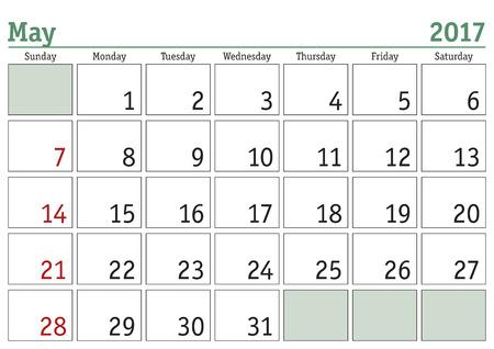 Calendrier numérique simple pour mai 2017. Vector imprimable calendrier. planificateur mensuel. La semaine commence le dimanche. Anglais calendar Vecteurs