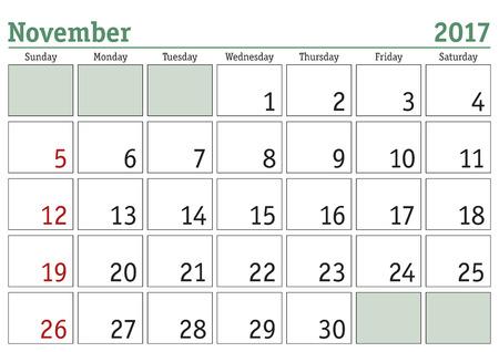Simple digital calendar for November 2017. Vector printable calendar. Monthly scheduler. Week starts on Sunday. English calendar Vettoriali