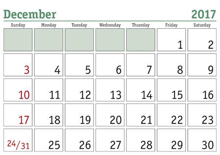 meses del año: calendario digital simple para diciembre de 2017. Vector calendario imprimible. planificador mensual. La semana comienza el domingo. calendario Inglés Vectores