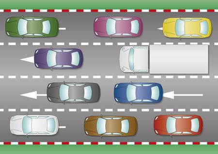 mermelada: Algunos coches y camiones atrapados en un atasco de tráfico. La hora punta desde arriba. Vector Vectores