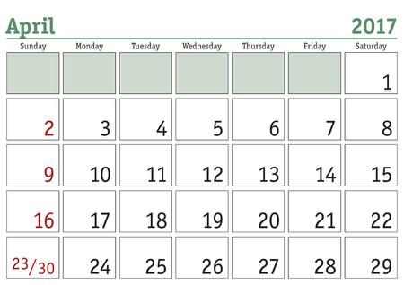 Simple digital calendar for April 2017. Vector printable calendar. Monthly scheduler. Week starts on Sunday. English calendar