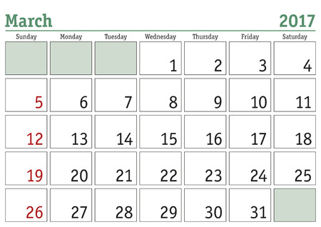 months: Simple digital calendar for March 2017. Vector printable calendar. Monthly scheduler. Week starts on Sunday. English calendar Illustration