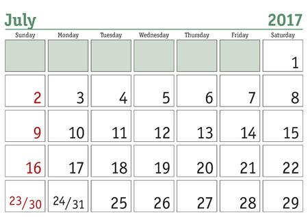 Simple digital calendar for July 2017. Vector printable calendar. Monthly scheduler. Week starts on Sunday. English calendar Illustration