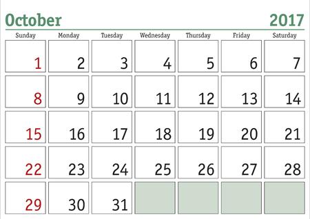 calendario octubre: calendario digital simple para octubre de 2017. Vector calendario imprimible. planificador mensual. La semana comienza el domingo. calendario Inglés Vectores