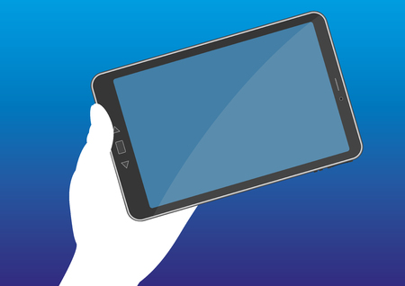 tablet pc in hand: A hand holds a tablet pc with a blank display. Wireless and mobile communication technology. Vector illustration